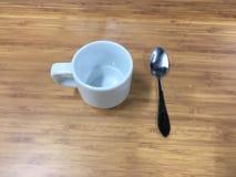 Kawowa kawy espresso filiżanka z łyżką Zdjęcie Royalty Free