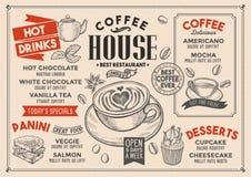 Kawowa menu restauracja, napoju szablon Zdjęcia Royalty Free