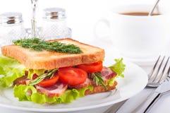kawowa mięsna kanapka dymił Obraz Royalty Free