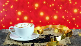 Kawowa miłość z sercami na mleku, Latte kawa Fotografia Royalty Free