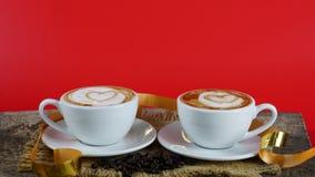 Kawowa miłość z sercami na mleku, Latte kawa Zdjęcie Royalty Free