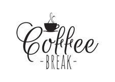 Kawowa przerwa, Ścienni Decals, sformułowania, literowanie projekt royalty ilustracja