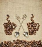 Kawowa sceneria Kawowa łyżka Zdjęcia Royalty Free