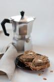 kawowa wątrobowej pasty kanapka Fotografia Stock