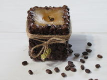 Kawowa świeczka handmade Zdjęcie Royalty Free