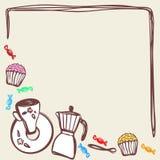 Kawowe czas rzeczy w ramie z tekst przestrzenią kawowy producent, łyżka, filiżanka, cukierki, babeczki Karciany projekt wektor ilustracji