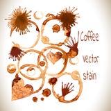 Kawowe farb plamy, pluśnięcia i jelenie odizolowywający na białym tle, Obraz Royalty Free