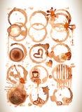Kawowe farb plamy, pluśnięcia i jelenie odizolowywający na białym tle, Obraz Stock