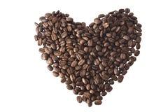 Kawowe fasole brogować w postaci serca Obraz Royalty Free