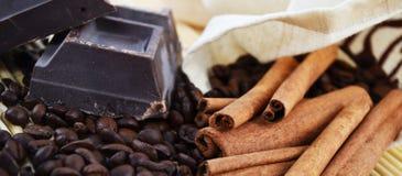Kawowe fasole, czekolada i cynamon na drewnianym stole, zdjęcie royalty free