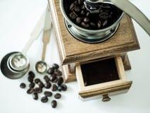 Kawowe fasole gotowe z diff kawowym ostrzarzem zdjęcia royalty free