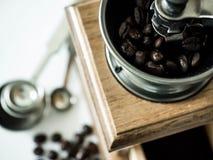 Kawowe fasole gotowe z diff kawowym ostrzarzem obrazy royalty free