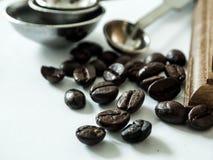 Kawowe fasole gotowe z diff kawowym ostrzarzem fotografia stock