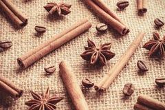 Kawowe fasole i cynamonowi kije z anyżowymi gwiazdami organizować oddzielnie na parciaku Zdjęcie Royalty Free