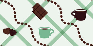 Kawowe fasole i czekolady mennicy koloru wektoru bezszwowy wzór Zdjęcia Stock