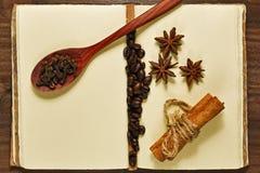 Kawowe fasole i pikantność na rocznika notatniku obrazy royalty free