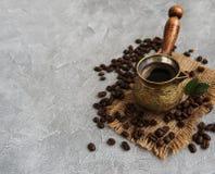 Kawowe fasole i turek zdjęcia stock
