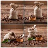 Kawowe fasole na drewnianym tle, kawowe fasole w torbie i zieleń, leaf tła fasoli czerń zakończenia kawowa kolażu filiżanka wręcz Zdjęcie Stock