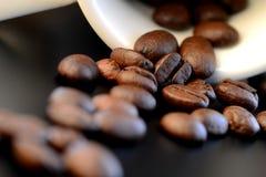Kawowe fasole rozlewa od białej filiżanki Obrazy Royalty Free