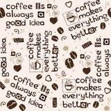 Kawowe fasole, serca i pisać list bezszwowego wzór, ilustracji