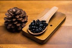 Kawowe fasole w łyżkach Obraz Royalty Free