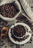 Kawowe fasole w białym kubku Obrazy Royalty Free