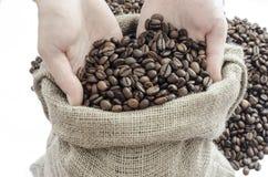 Kawowe fasole w rękach obrazy royalty free