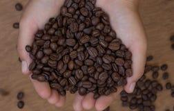 Kawowe fasole w rękach na drewnianym tle Obrazy Royalty Free