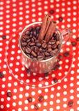 Kawowe fasole w szklanej filiżance z cynamonem Zdjęcie Stock