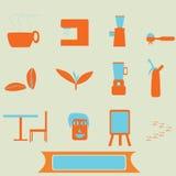 Kawowe ikony Zdjęcie Royalty Free