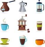 Kawowe ikony/logo ustawiający - (1) Obrazy Royalty Free