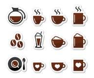 Kawowe ikony na etykietkach ustawiać Fotografia Royalty Free
