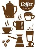 Kawowe ikony z Białym tłem Obrazy Royalty Free