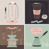 Kawowe karty - ręka rysujący styl Obraz Stock