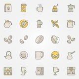 Kawowe kolorowe ikony ustawiają - wektorowych kreatywnie symbole royalty ilustracja