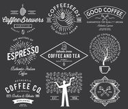 Kawowe odznaki białe Fotografia Stock