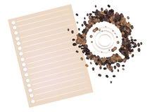Kawowe plamy Kawowa fasola z Pustym papierem Obrazy Royalty Free