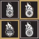 Kawowe Retro odznaki Zdjęcie Royalty Free