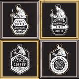 Kawowe Retro odznaki Zdjęcie Stock
