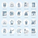 Kawowe robi wyposażenie wektoru linii ikony Narzędzia - moka garnek, francuz prasa, kawowy ostrzarz, kawa espresso, vending, rośl ilustracja wektor