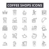 Kawowe sklep linii ikony, znaki, wektoru set, liniowy pojęcie, kontur ilustracja royalty ilustracja