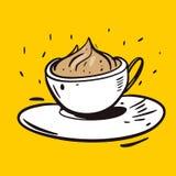 Kawowego Cappuccino zwrota ręcznie pisany wektorowy literowanie i ilustracja royalty ilustracja