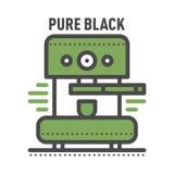 Kawowego odznaka loga karmowego projekta cienki kreskowy literowanie dla restauraci, cukiernianego menu kawy domu i sklepu elemen Obrazy Royalty Free