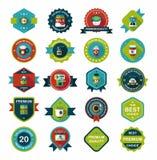 Kawowego odznaka projekta tła płaski set, eps10 Zdjęcia Stock