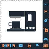 Kawowego producenta ikony maszynowy mieszkanie ilustracja wektor