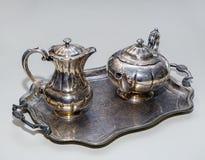 kawowego setu srebro Zdjęcia Royalty Free