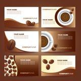 Kawowego wizytówka szablonu wektoru ustalony projekt Zdjęcie Royalty Free