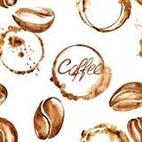 Kawowej akwareli bezszwowy wzór ilustracja wektor