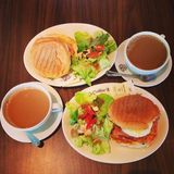 Kawowej fasoli śniadanie Fotografia Royalty Free