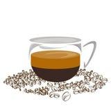 Kawowej ikony kawowej fasoli ustalony sklep z kawą Zdjęcia Royalty Free